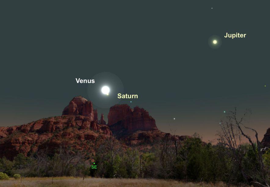 Dos de los planetas más brillantes, Venus y Saturno, estarán bastante cerca en el firmamento del ...