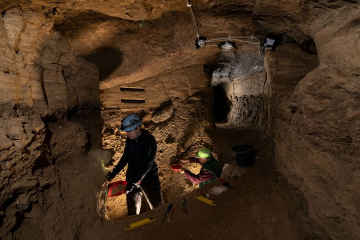 Un equipo de arqueólogos en la cueva del Unicornio