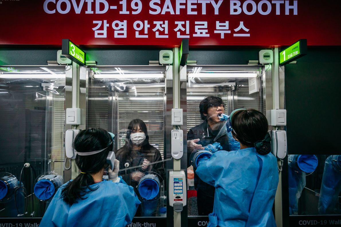Test de COVID en Seúl
