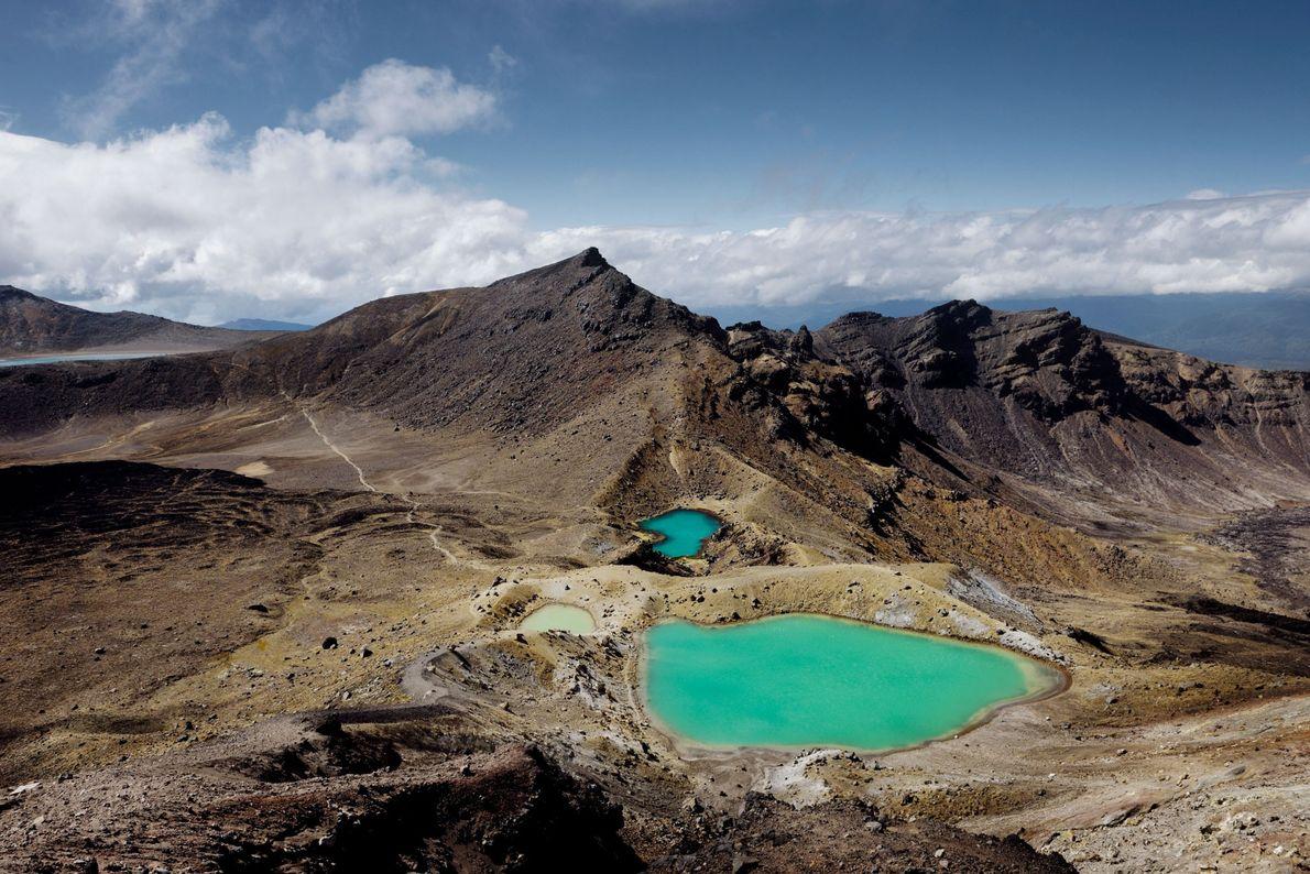 Imagen de los lagos Esmeralda del Parque Nacional de Tongariro, Nueva Zelanda