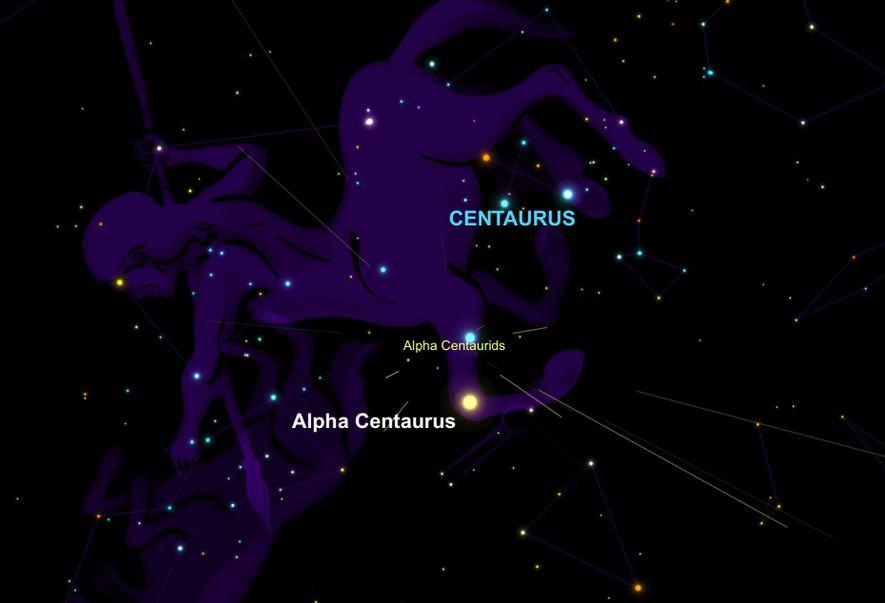 La lluvia de meteoros de las Alfa Centáuridas parecerá irradiar del sistema estelar Alfa Centauri.