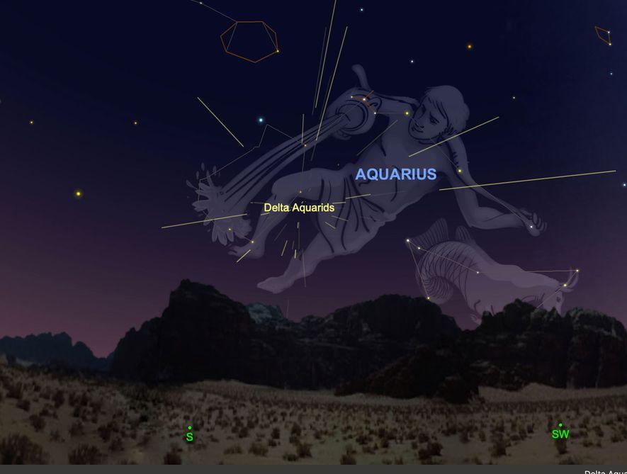 La lluvia de meteoros de las Delta Acuáridas parecerá irradiar de su constelación homónima del 28 ...