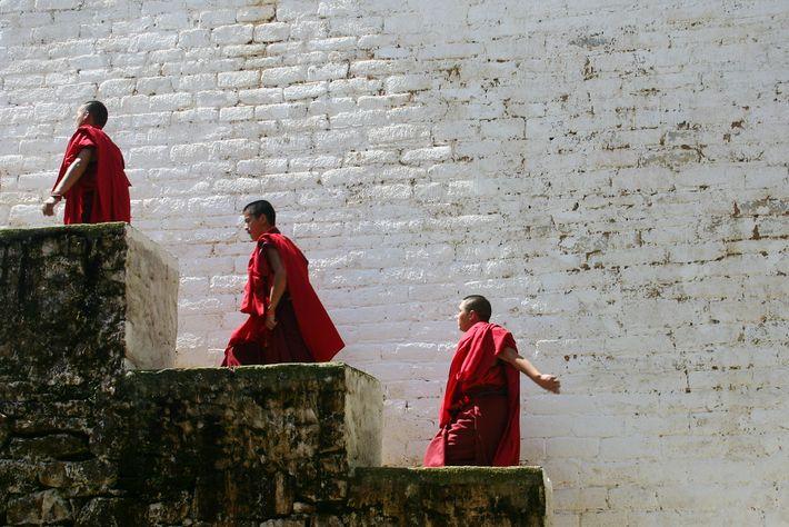 Fotografía de monjes de Bután