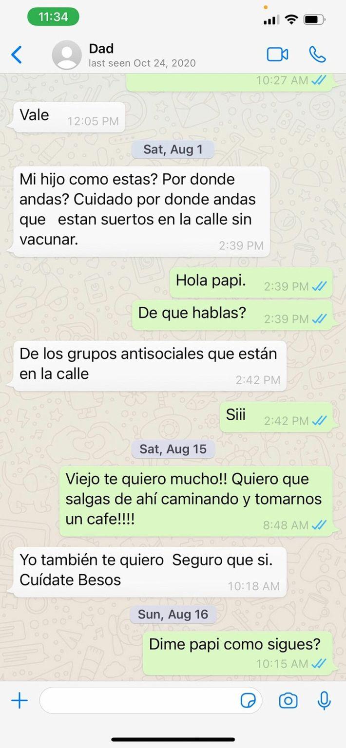 Mensajes entre Marco y José Reyes