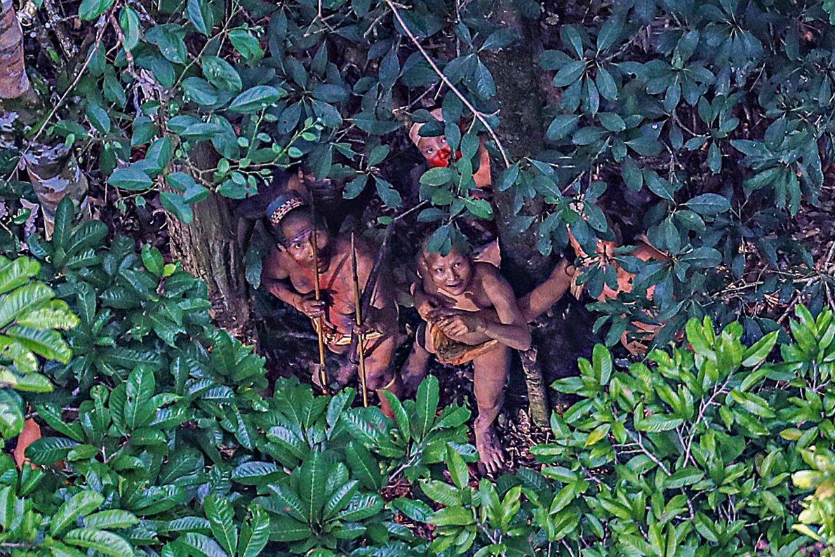 Imagen de una tribu escondiéndose bajo los árboles del Amazonas