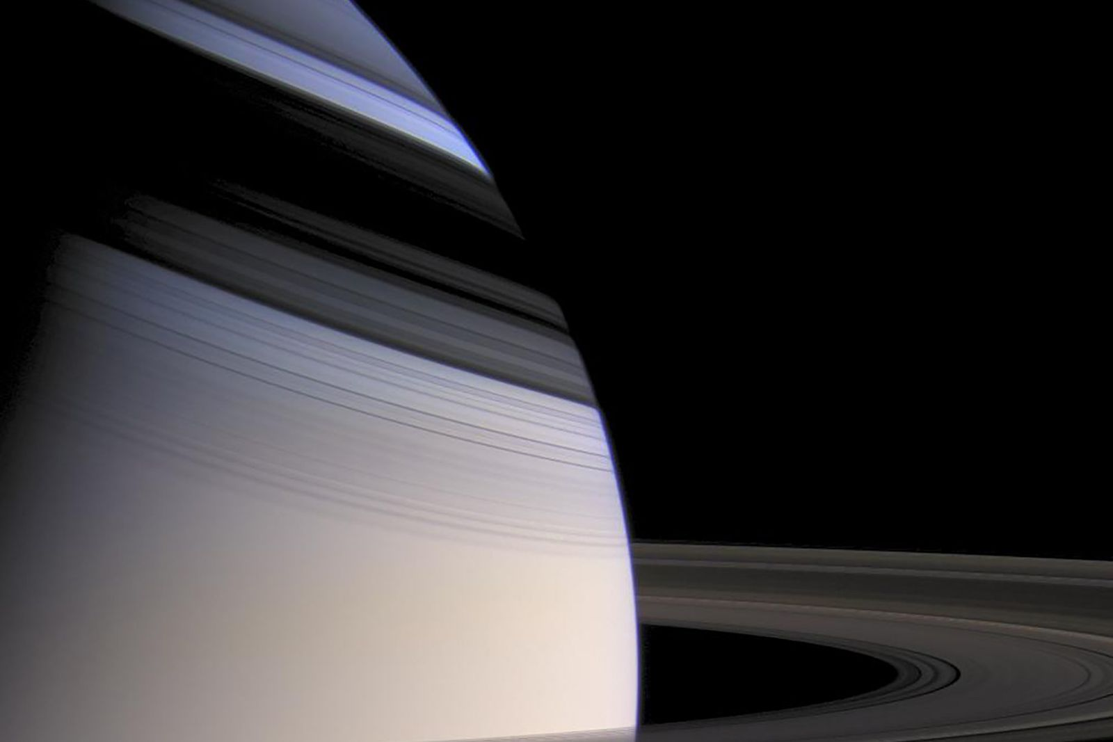 Cassini took this portrait of Saturn embraced by the shadow of its stately rings.