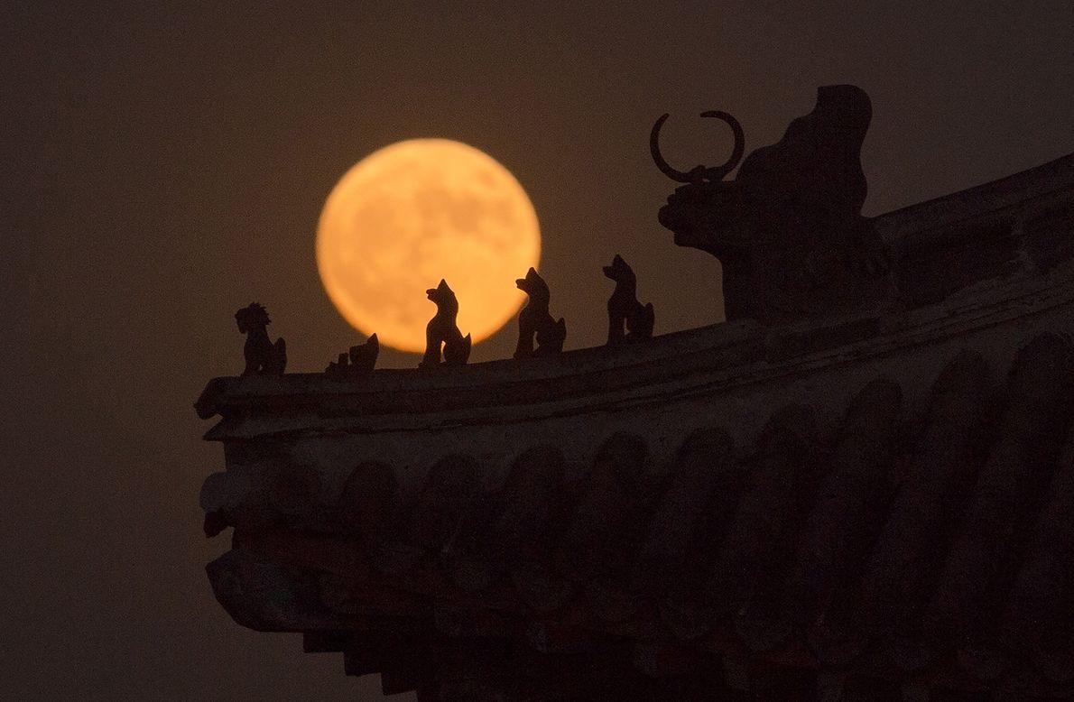 Las siluetas de las pequeñas esculturas de una torre en la Ciudad Prohibida de China se ...