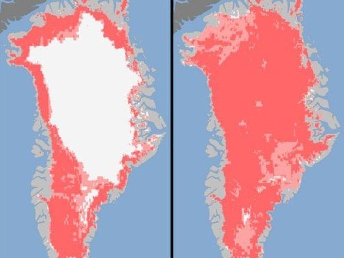 Muestra del deshielo en Groenlandia