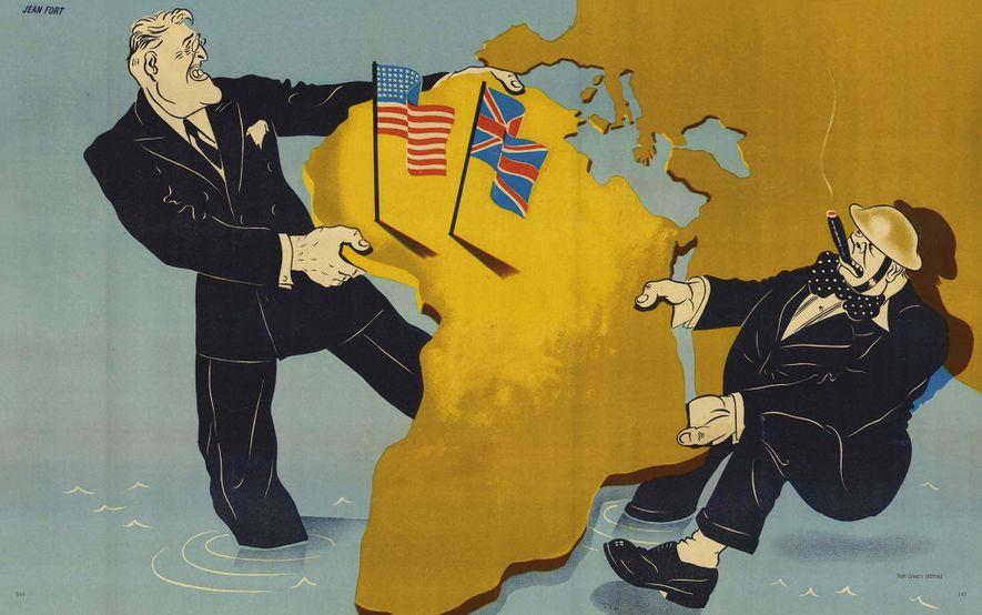 Este mapa de 1941 de Jean Fort representa al presidente estadounidense Franklin D. Roosevelt y al ...