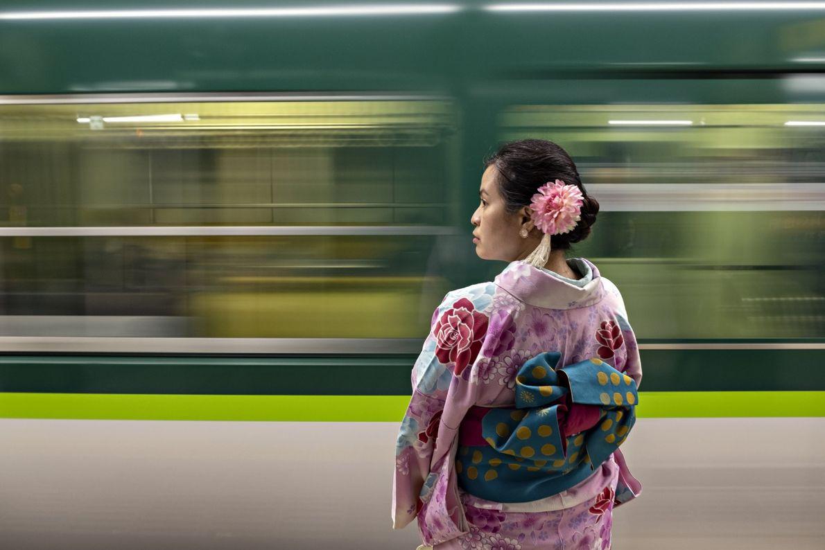 Mujer con un kimono