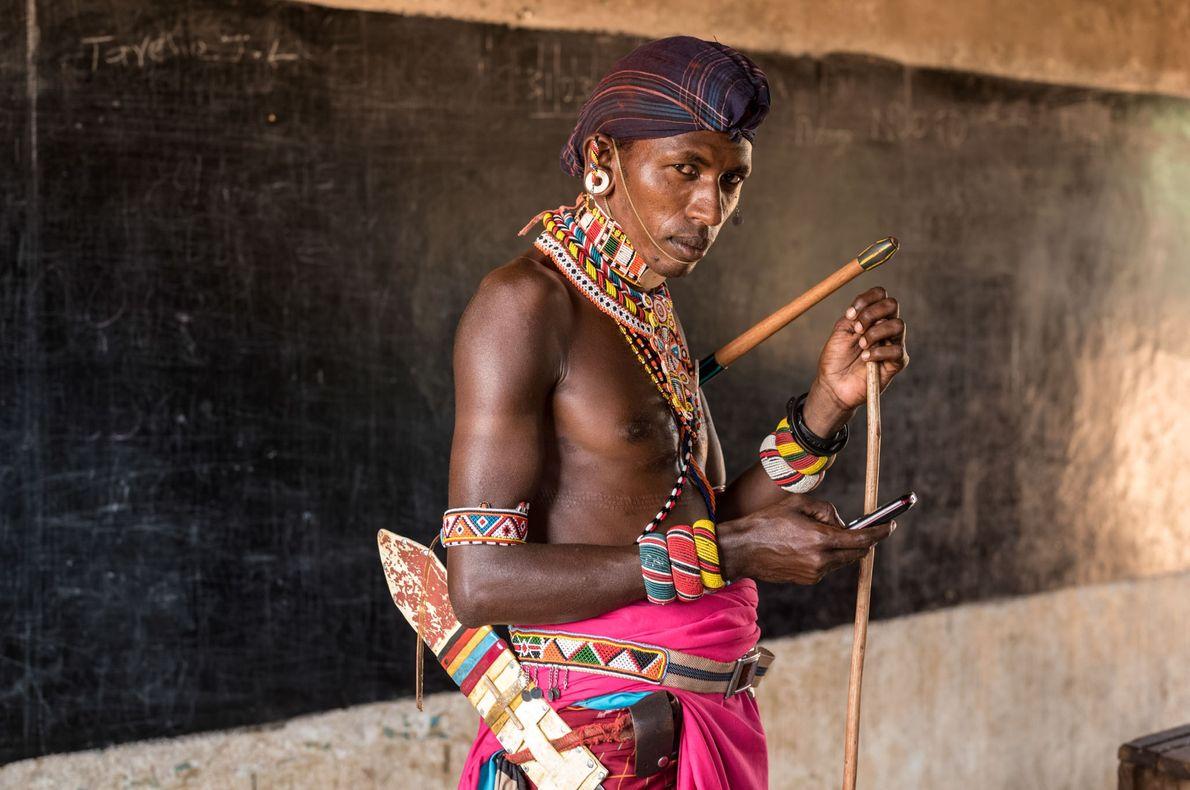 Un guerrero samburu en clase