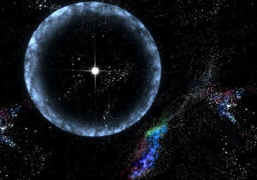 Esta ilustración artística muestra una estrella de neutrones —localizada a 50.000 años luz de la Tierra— ...