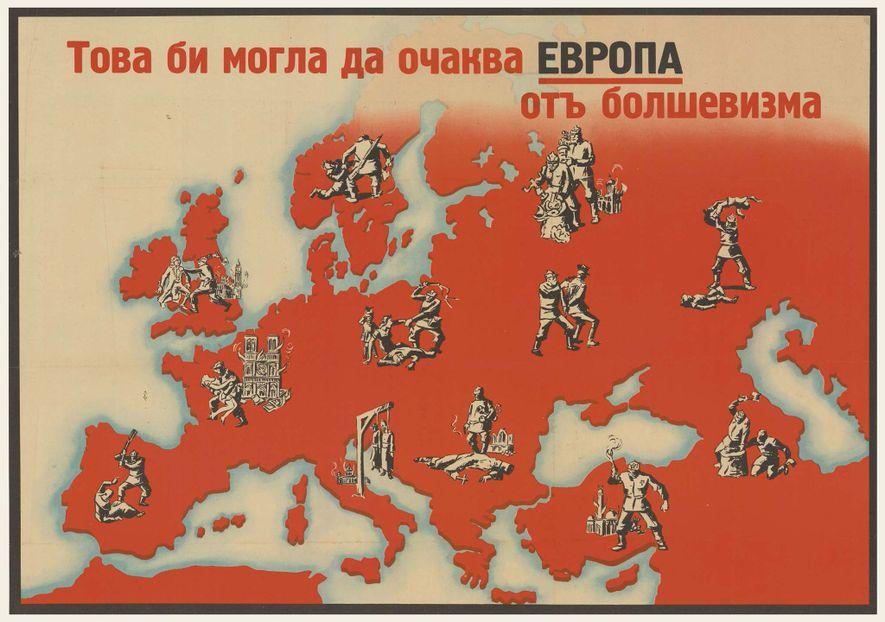 Un raro mapa propagandístico búlgaro antibolchevique de 1944 elaborado por un autor anónimo. Crear o incluso ...