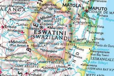 Mapas políticos de Suazilandia y Esuatini