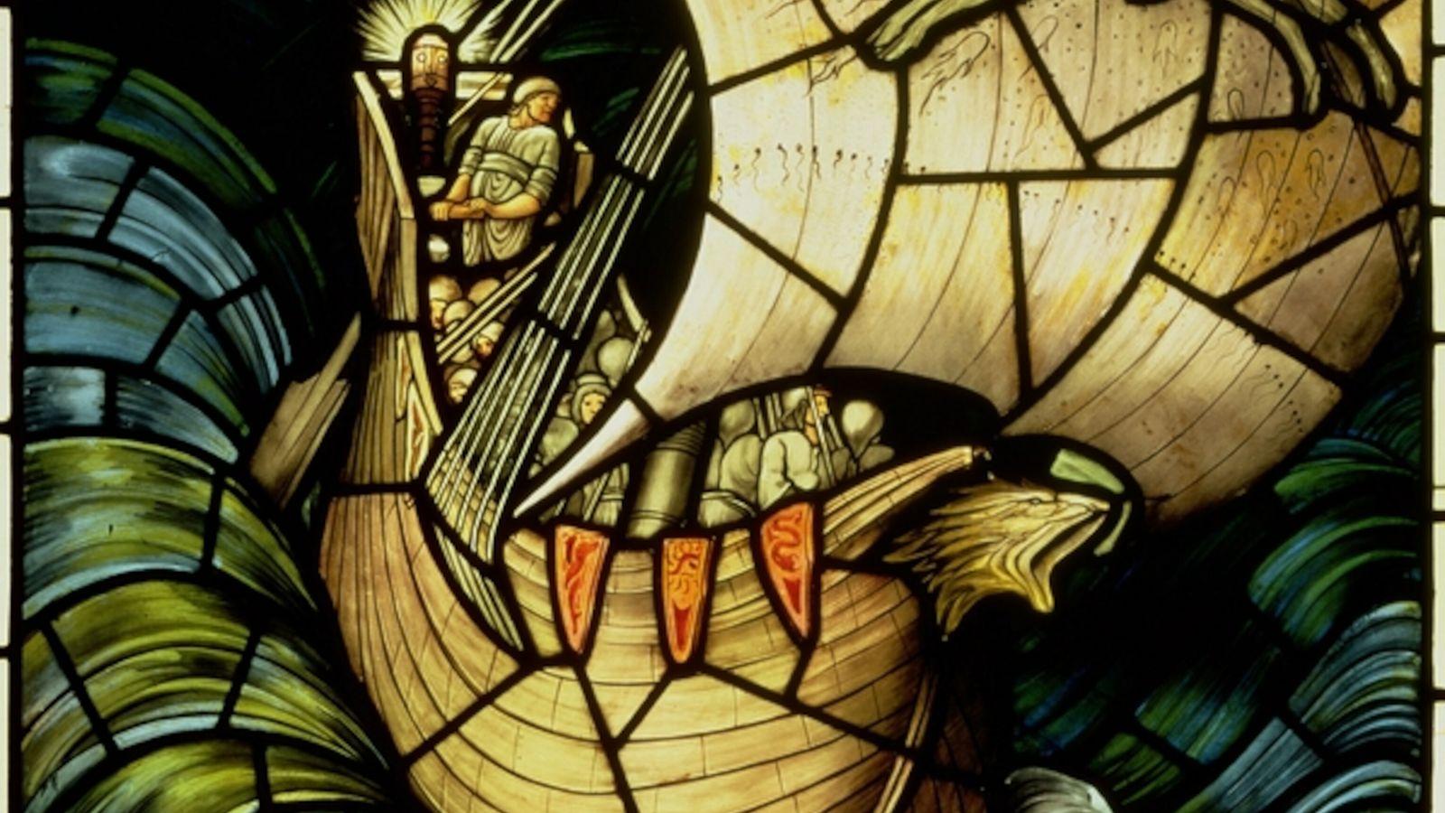 Vidriera con un barco vikingo