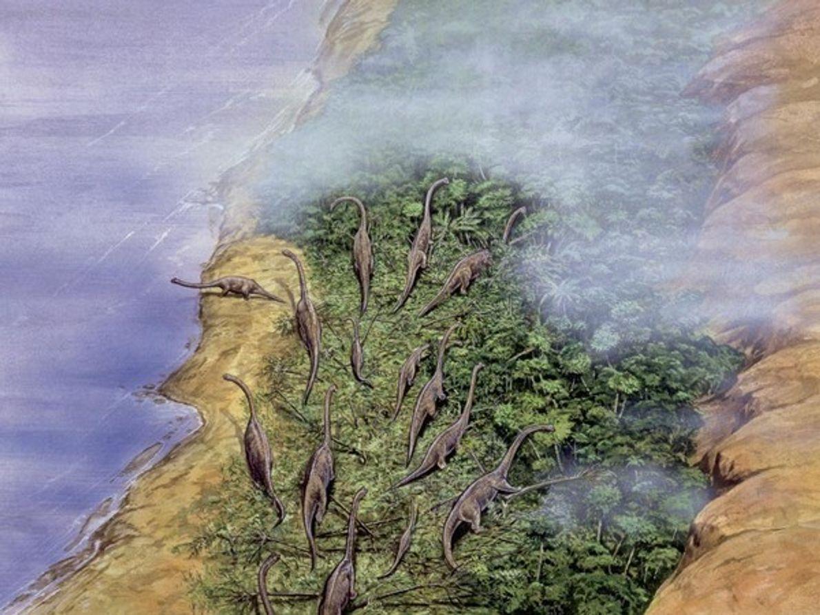 Una manada de braquiosaurios se reúne en una costa boscosa en esta reproducción artística. Con un …