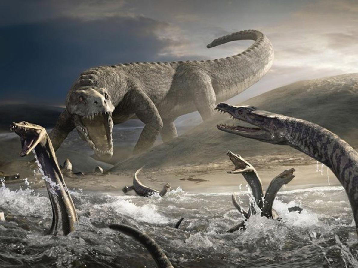 Notosaurios huyendo