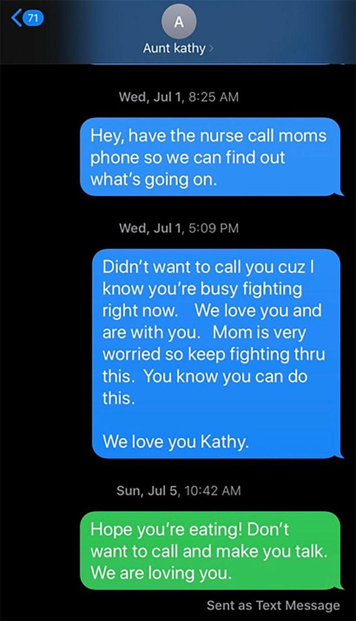 Mensajes entre Kathy Jones y Todd Bailey