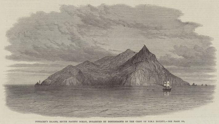 Grabado del siglo XIX de las islas Pitcairn