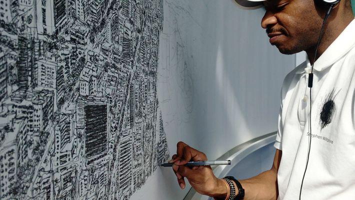 Este artista es capaz de dibujar una ciudad entera de memoria