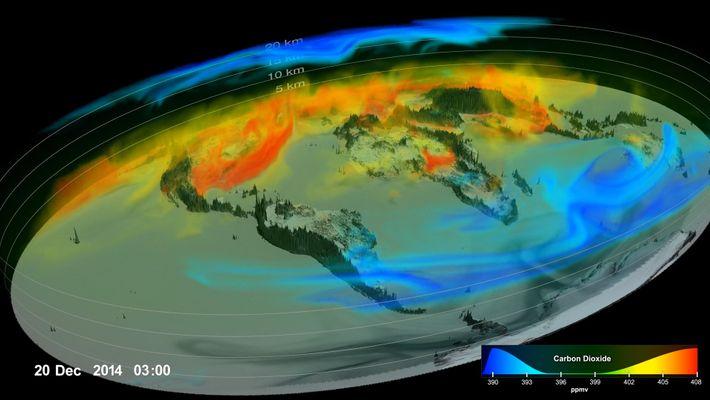 Impresionantes imágenes de cómo el CO2 que calienta el planeta se desplaza por la atmósfera terrestre