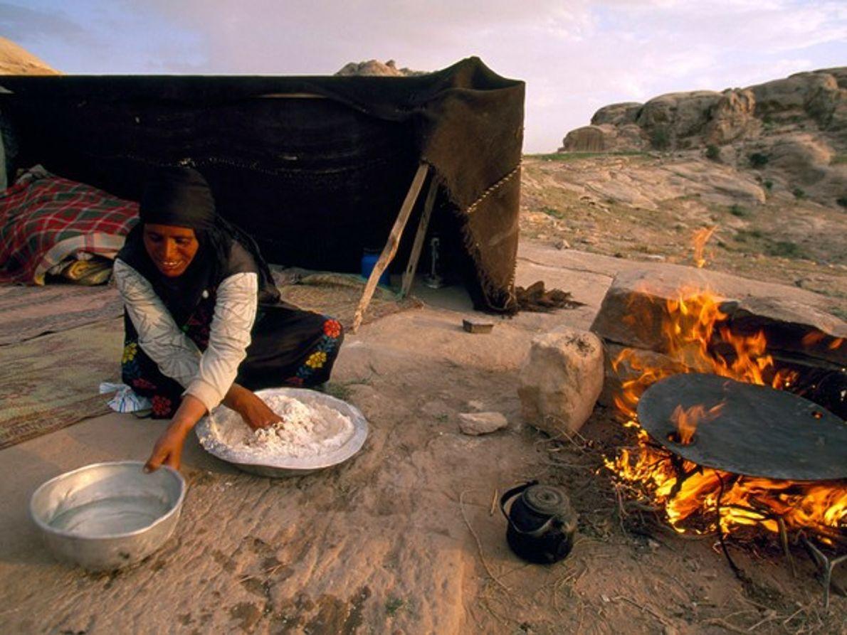 Beduinos cocinando, Petra