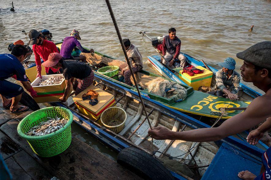 Pescadores camboyanos reunidos en el embarcadero de un distribuidor en Kompong Luong.