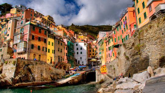 Riomaggiore, una de las Cinque Terre del noroeste de Italia.