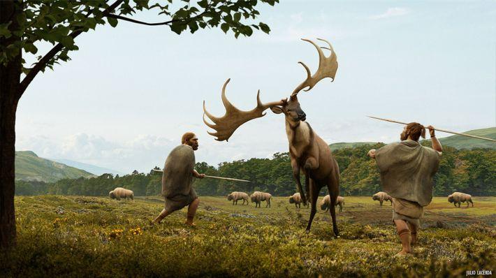 Recreación artística de una cacería de Megaloceros giganteus