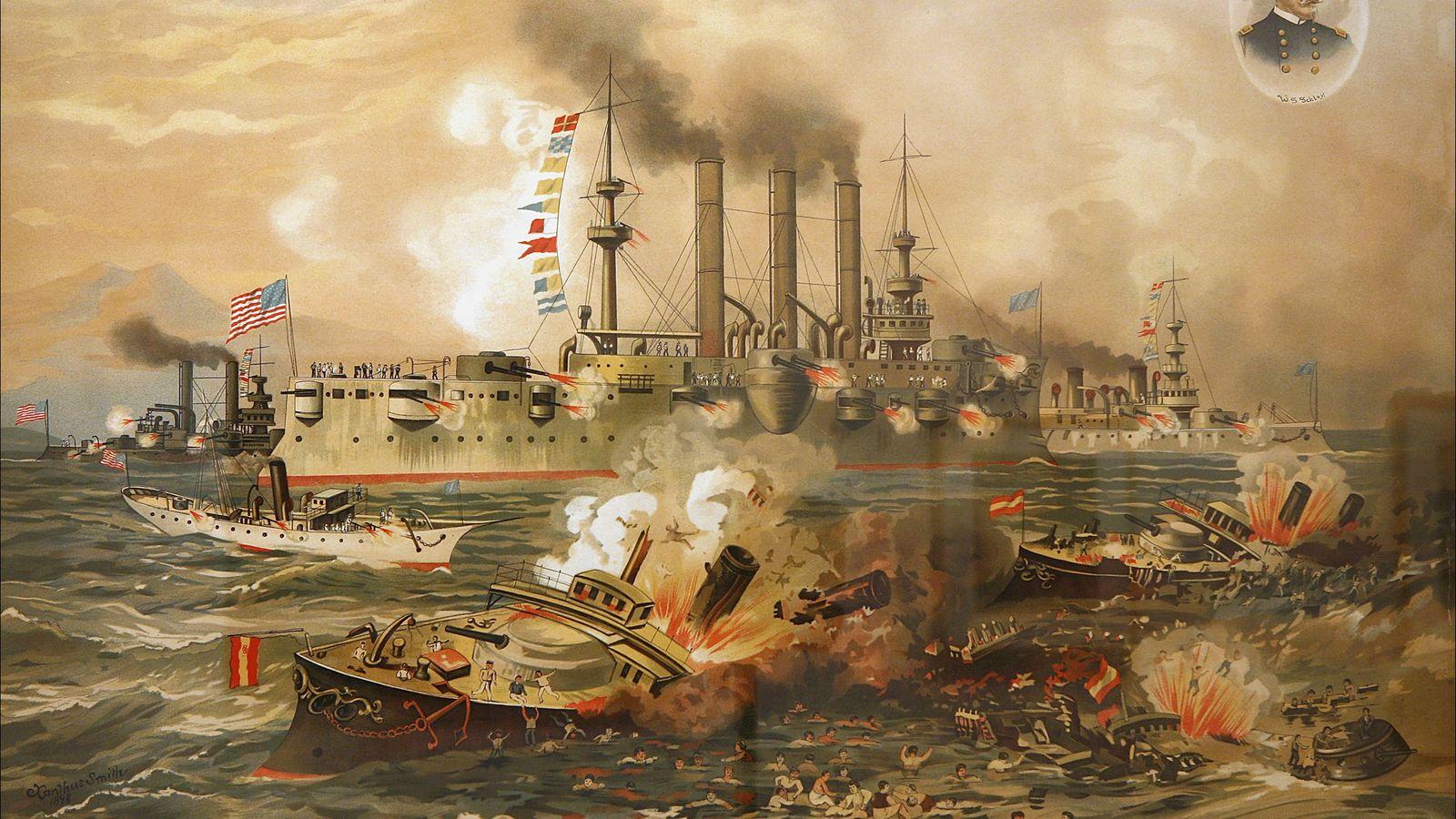 Batalla naval de Santiago de Cuba por Xanthus Russell Smith (1839-1929) publicada por J. Hoover & ...