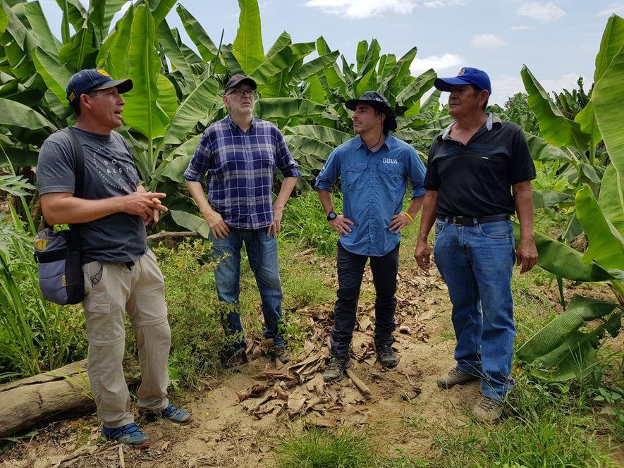 De izquierda a derecha, Arturo Aguirre, productor de cacao; Ignacio Medina, periodista; Jordi Roca y Alfonso ...