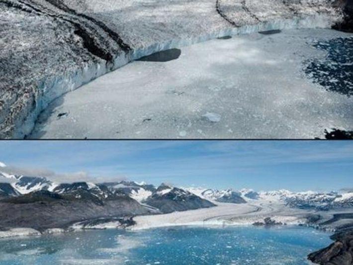 El glaciar de Columbia en Alaska, visto en 2006 (arriba) y 2012 (abajo)