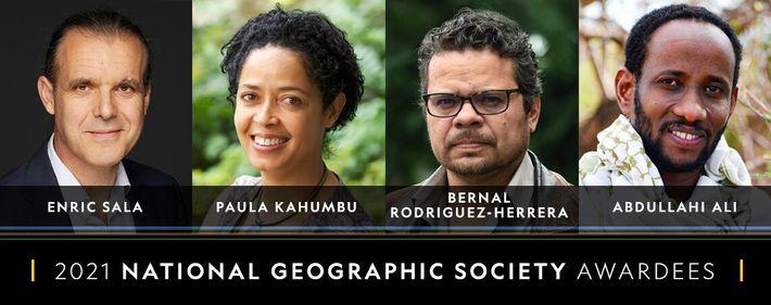 Premiados por la National Geographic de 2021: Enric Sala, Paula Kahumbu, Bernal Rodríquez-Herrera y Abdullahi Ali.