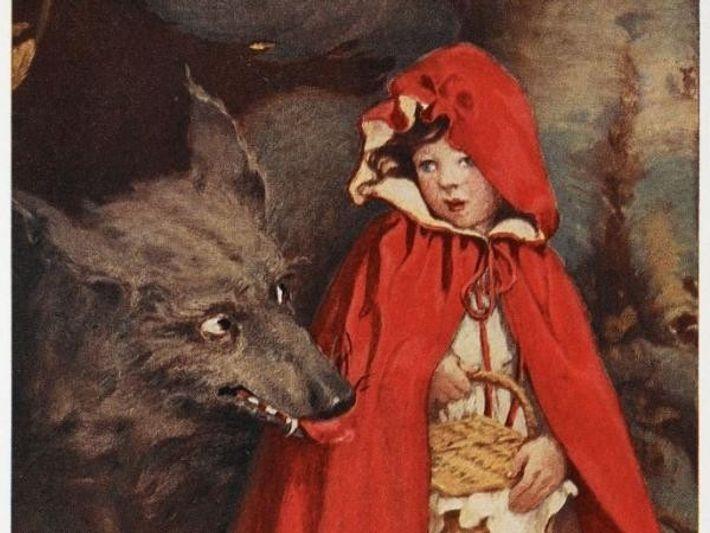El lobo camina junto a Caperucita en una ilustración del cuento.