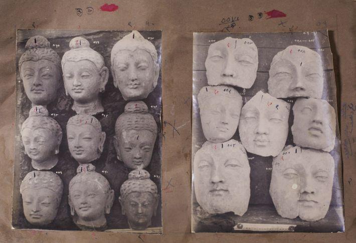 Cabezas de Buda y moldes de arcilla