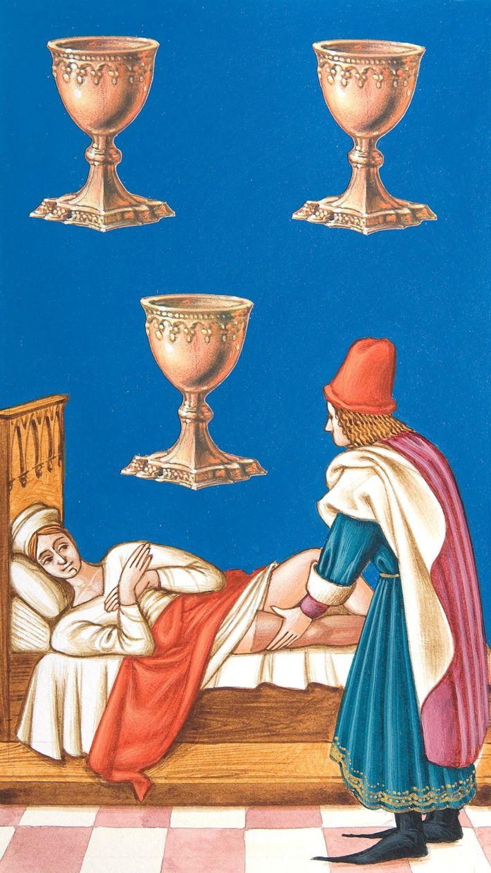 Tres de Copas, carta de tarot medieval