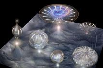 La ilustración muestra una membrana de la que surgen universos individuales que se expanden con el ...
