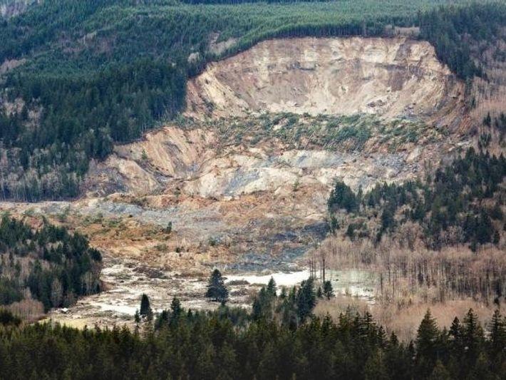Esta fotografía aérea del derrumbamiento fue tomada el 23 de marzo.