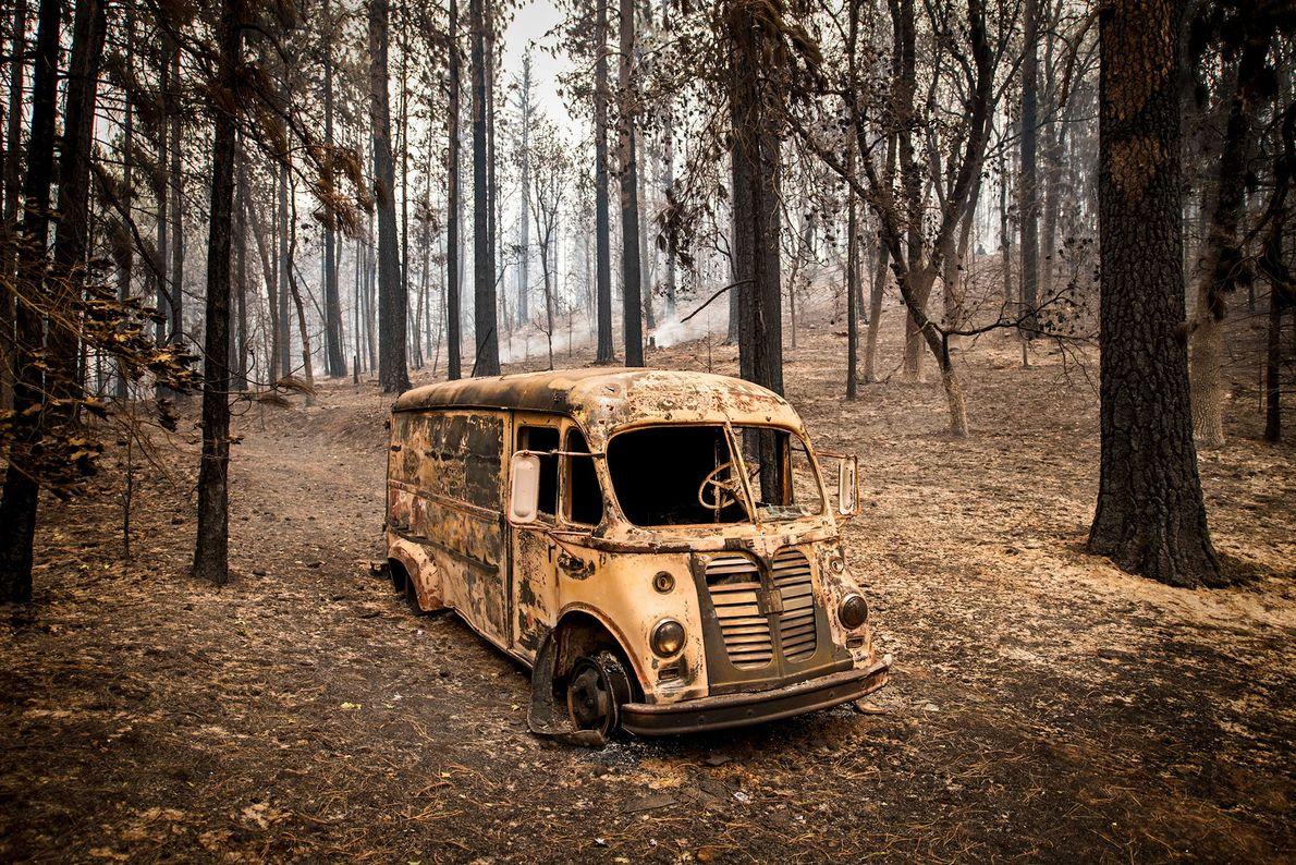 Un vehículo destrozado