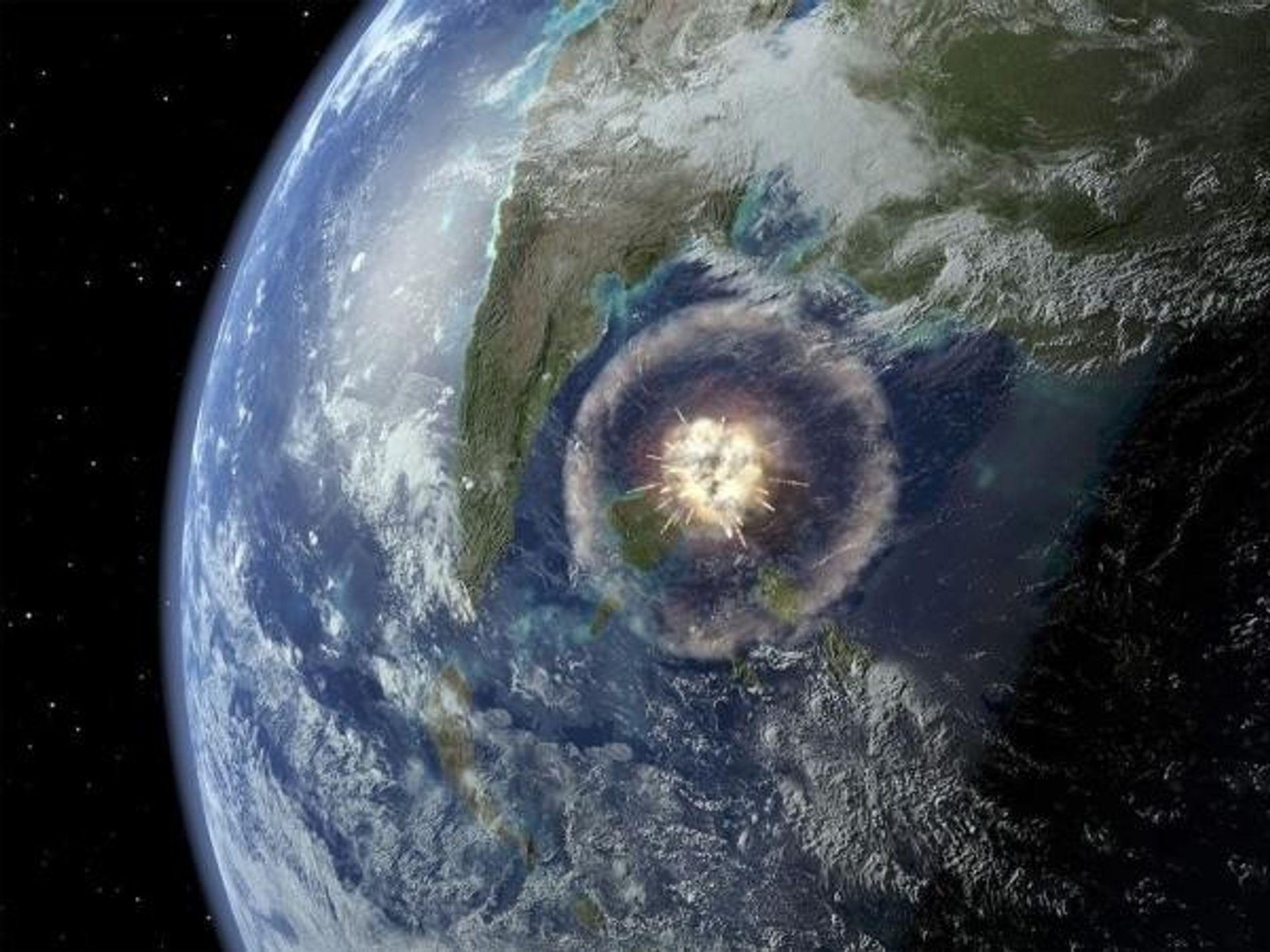 Una simulación por ordenador muestra el asteroide impactando en la península de Yucatán (México) hace 66 ...