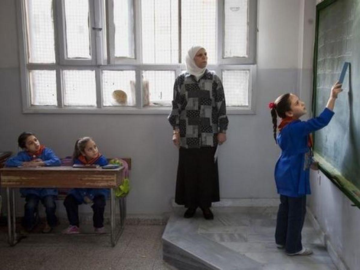 Una clase en Damasco (Siria) en 2009. Debido al influjo de más de un millón de refugiados …