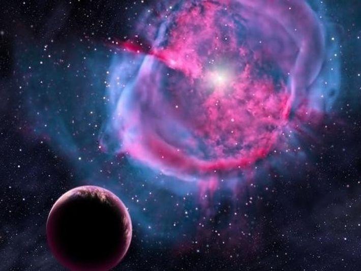 En esta ilustración, un planeta similar a la Tierra orbita una estrella rodeada de una nebulosa