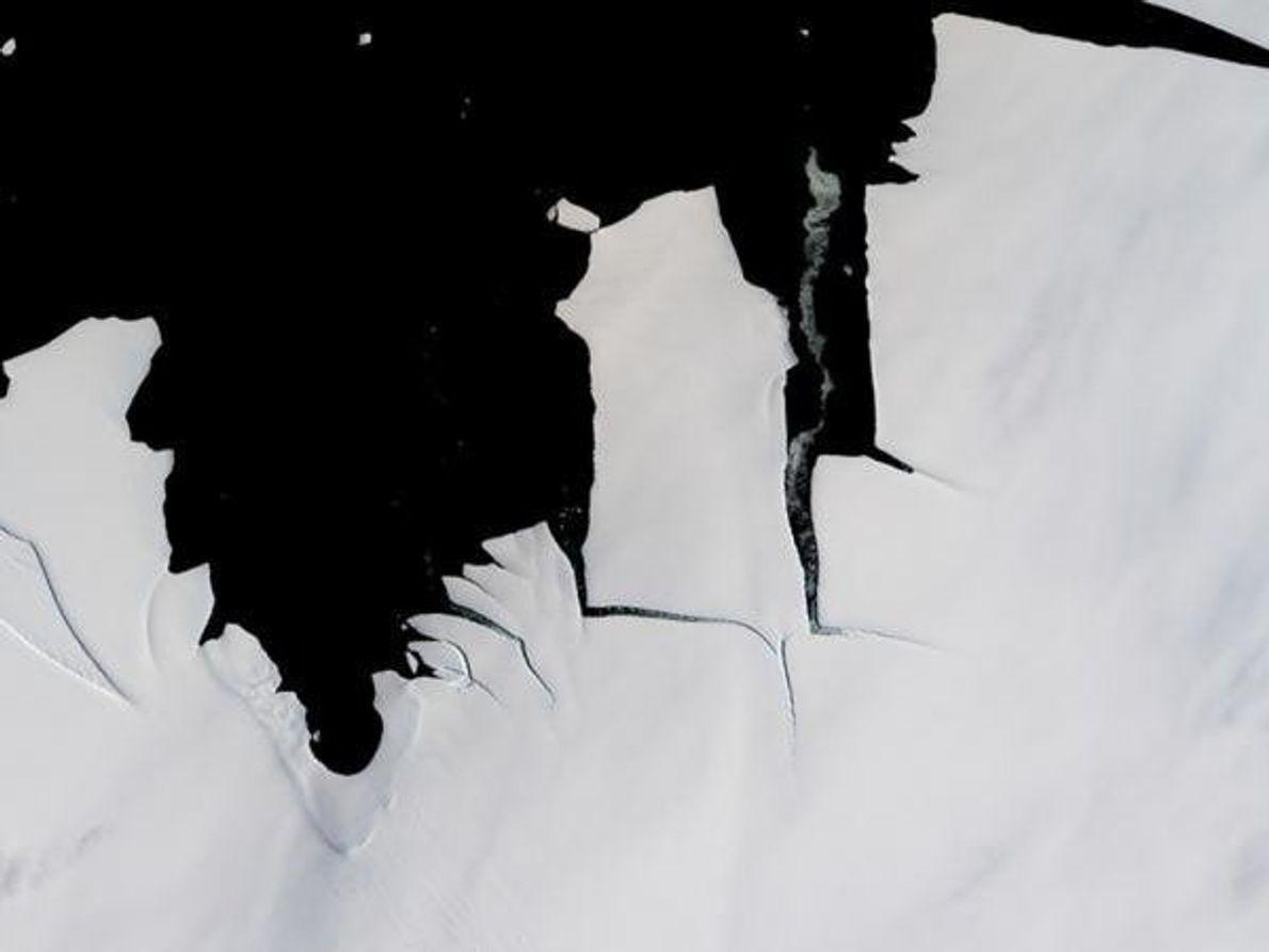 Un trozo de hielo de 70 kilómetros cuadrados se desprende de la plataforma de hielo del …