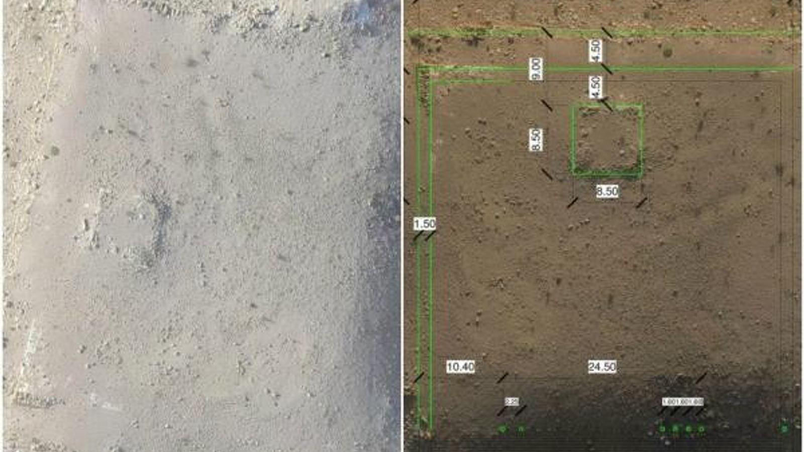 Imagen del monumento de Petra tomada por un dron (izquierda) y otra con los detalles de ...