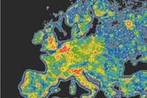 Mapa de los índices de contaminación lumínica en Europa