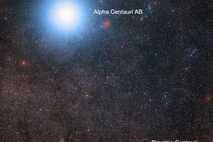 Próxima Centauri B es parte de un sistema estelar triple llamado Alfa Centauri. Vista de una ...