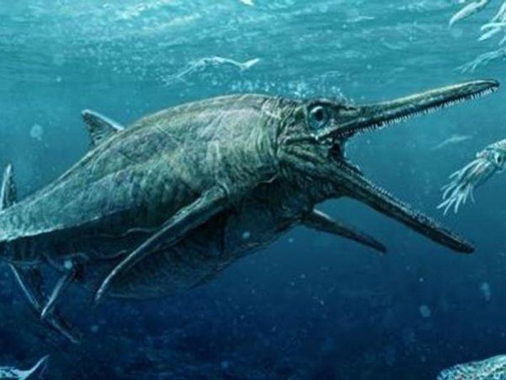 Representación de cómo sería el Monstruo de los lagos Storr, un ictiosaurio de casi 4 metros ...