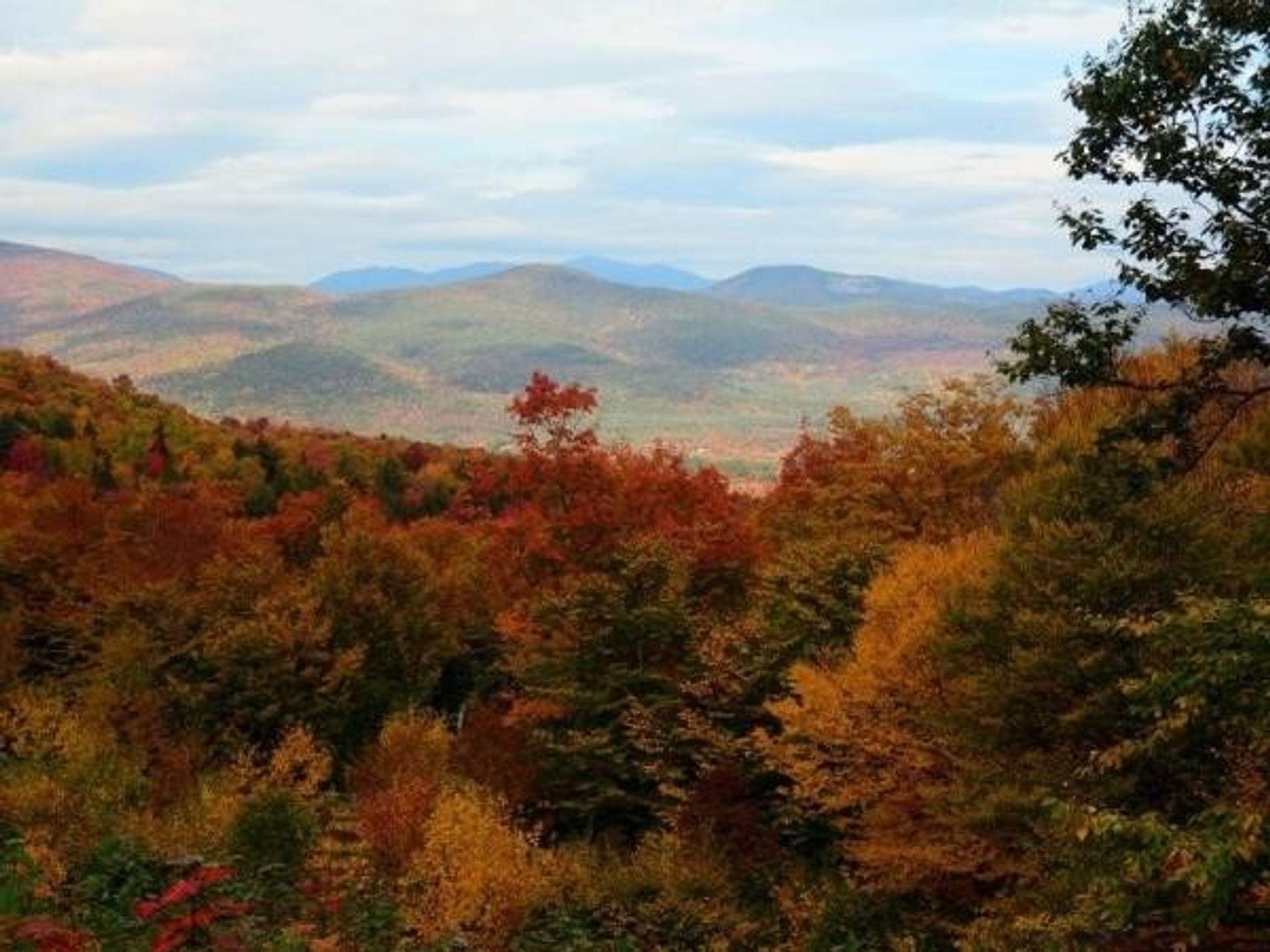 Los colores otoñales reinan sobre las Montañas Blancas de New Hampshire.