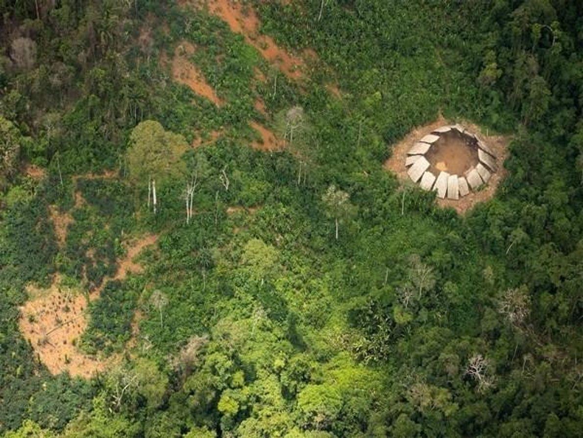 Vista aérea de la aldea Yanomami