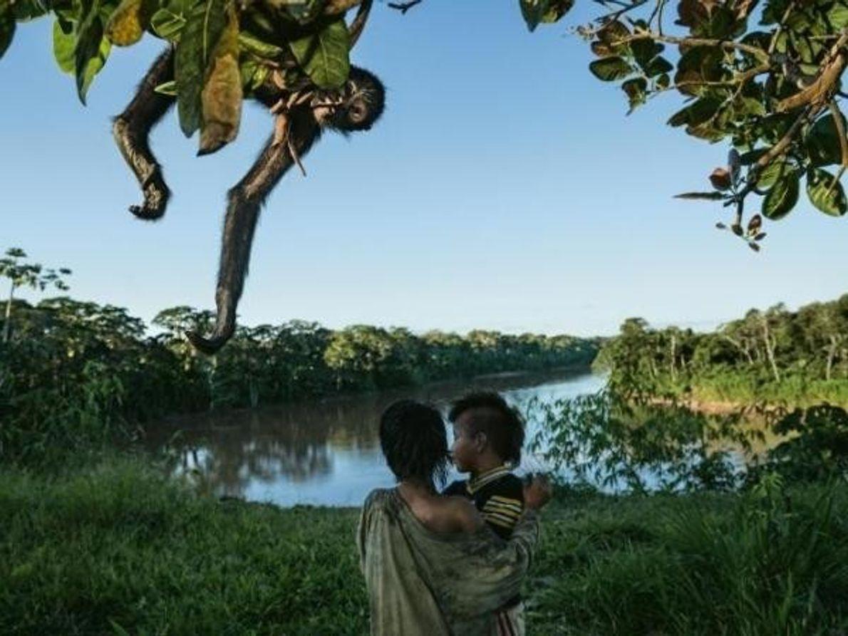 Indígenas y monos araña